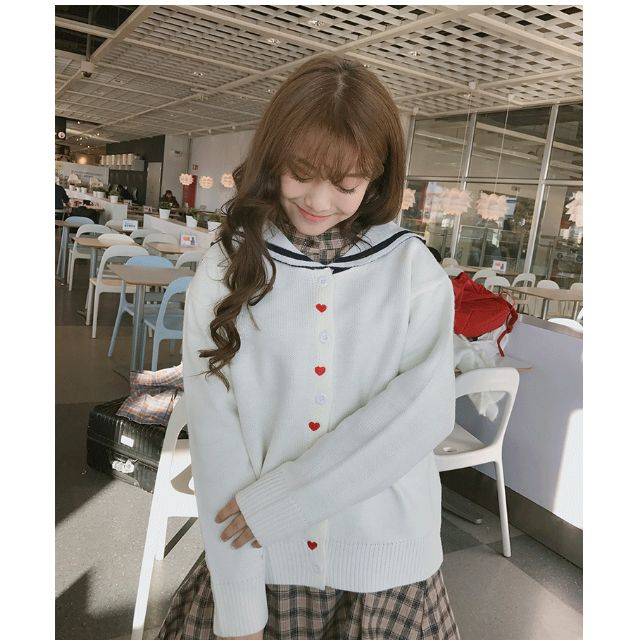 日系少女學生愛心刺繡海軍風針織毛衣外套
