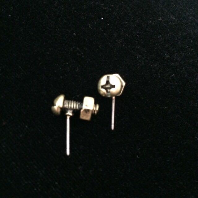 螺絲耳環 銅色 兩件入