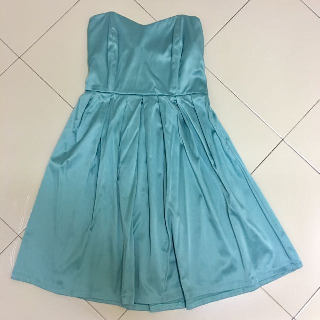 ⭐ Short Silky Satin Tube Dress (Gown Turquoise Blue Green Silver ...
