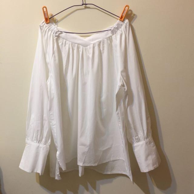 韓國製 V領露肩鬆緊襯衫 全新春天款 可平肩裸肩
