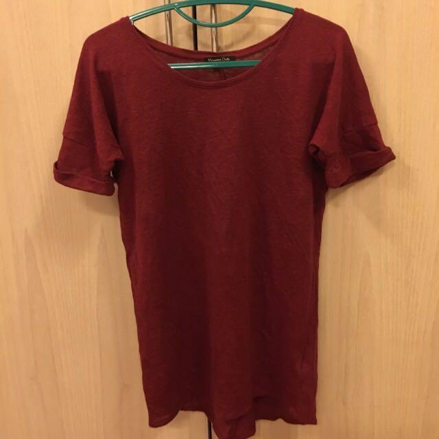 Baju knitwear Massimo Dutti warna merah tua size XS