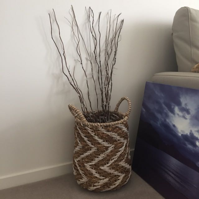 Basket With Removable Light Up Twigs Christmas Decoration