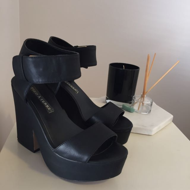 Black Faux Leather Wedges