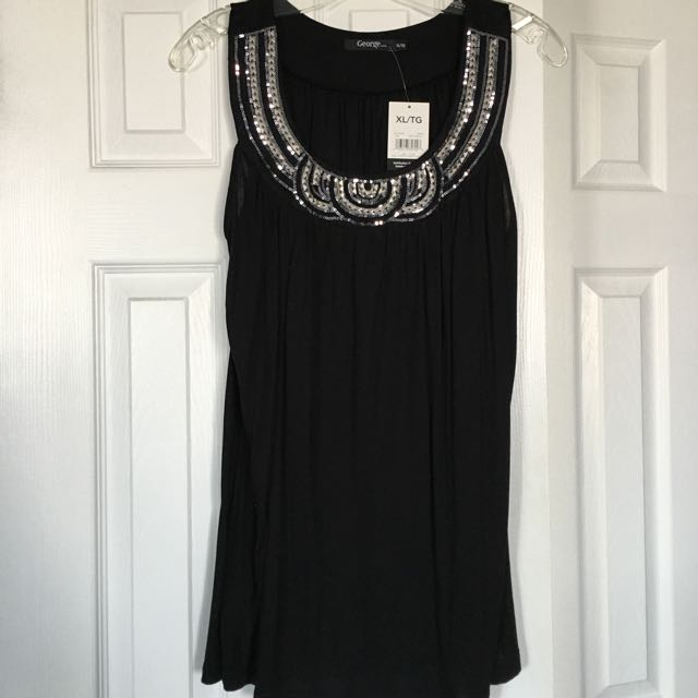 Black Sequin Top - EXTRA LARGE