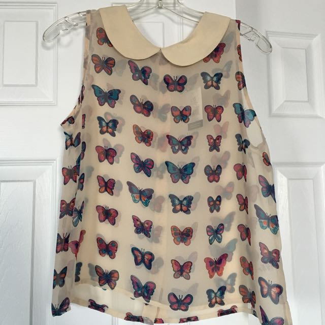 Butterfly Sheer Sleeveless Top - Large
