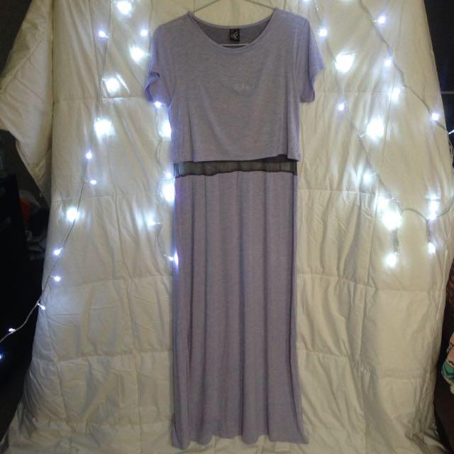 Cosmo Girl Maxi Sheer Dress In Grey