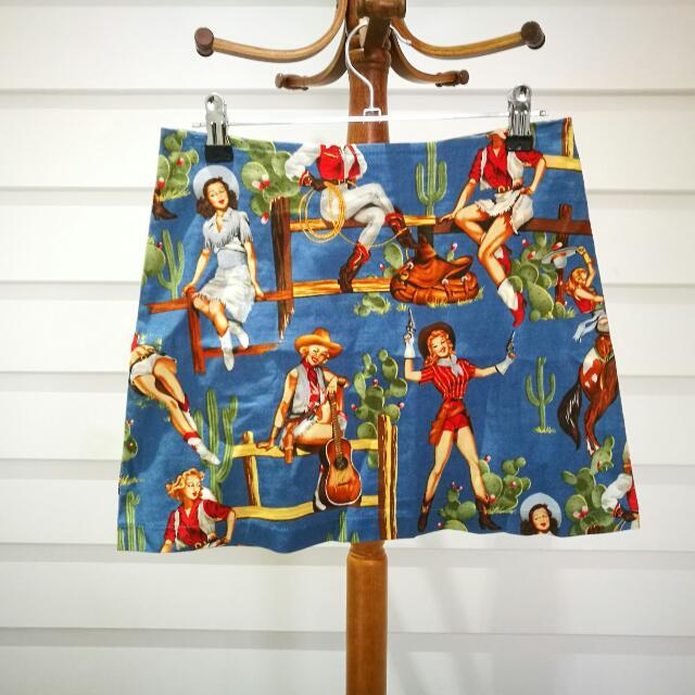Cowgirl Print Vintage Style Mod Skirt
