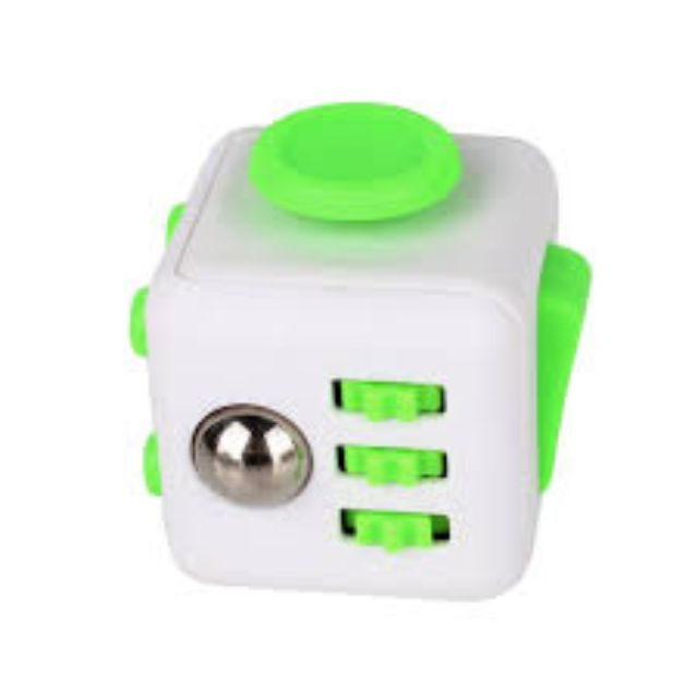 Fidget Cube Stress Relief Toy Adults Children 6+ Focus For ADHD AUTISM Anxiety - FRESH (WHITE WITH GREEN BUTTONS)