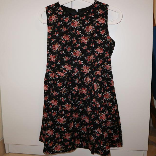 flowery little black dress