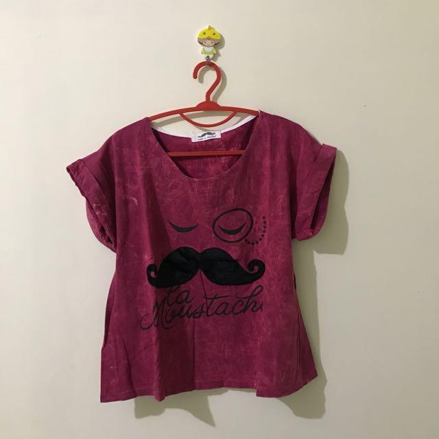 maroon moustache t-shirt