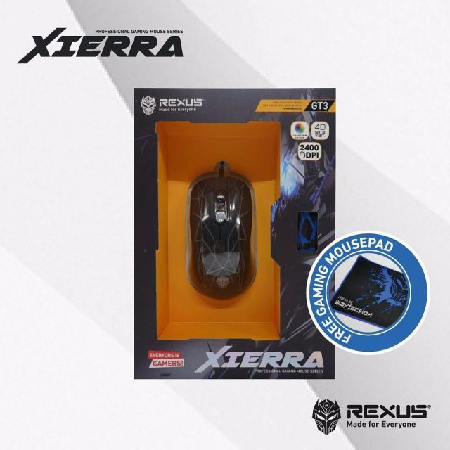 Mouse Gaming Rexus GT3 Free Mousepad