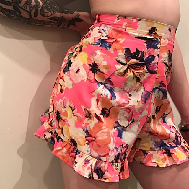 Neon Floral High Waisted Shorts