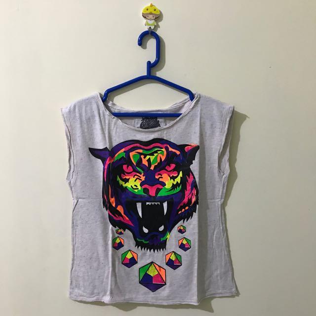 neon tiger sleeveless t-shirt