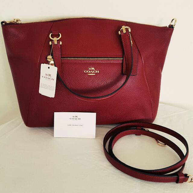 New Genuine COACH Prairie Black Cherry Satchel