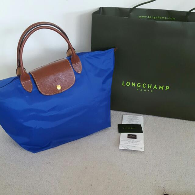 New Genuine Longchamp Blue Le Pliage Tote M