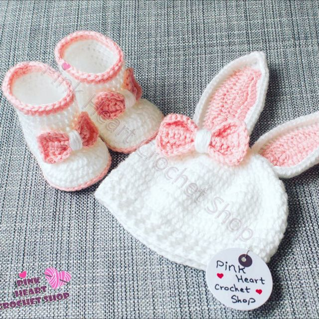 New Handmade Baby Rabbit Beanie And Boots