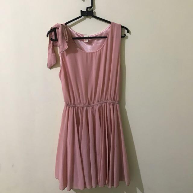 pink ribbon flare dress