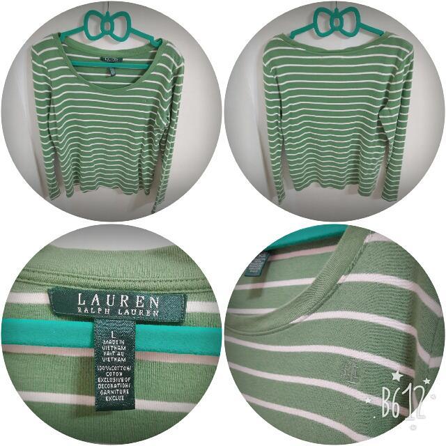 正品名牌Ralph Lauren 綠色條紋長袖棉T #一百元上衣