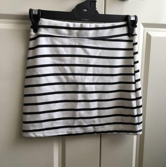 Striped White And Black Skirt