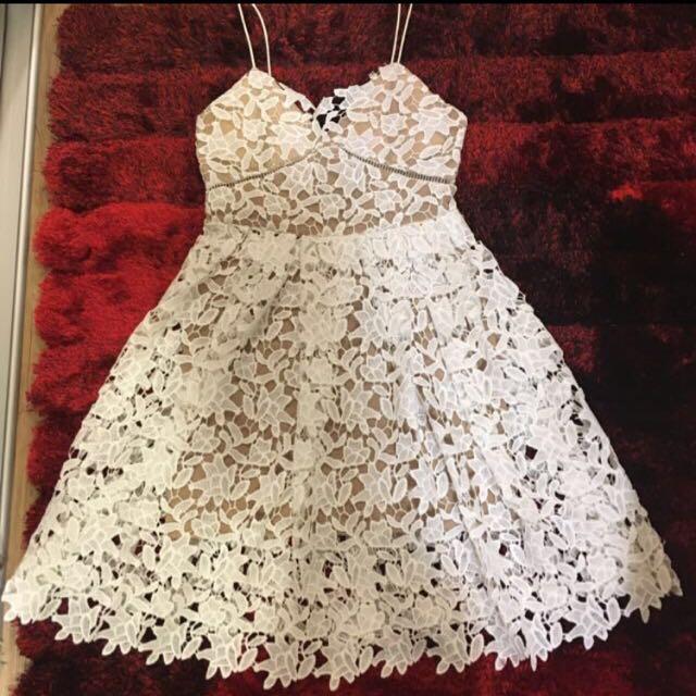 White Crochet Dinner Dress