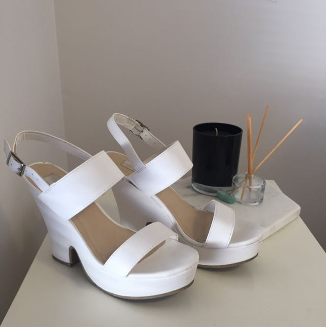 White Faux Leather Wedges
