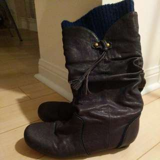 Navy Blue Slouchy Boots From Aldo