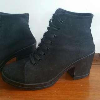 Chunky Heel Black Canvas Boots