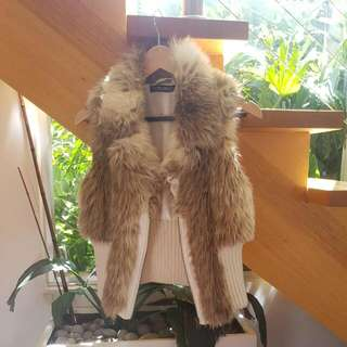 Embelished Faux Fur Vest