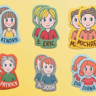 Personalized Sticker Character Kids - Set of 20 Waterproof Vinyl Stickers - custom, name, illustration, party favor, gift, label, design