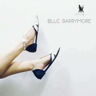 Pointy Blue-Silver Flat Shoes