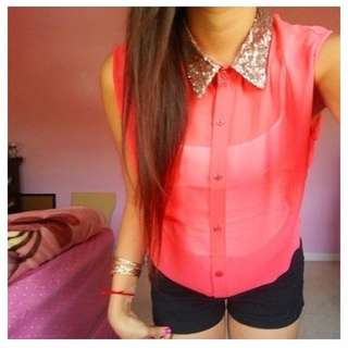 Sequin collar Sleeveless Shirt