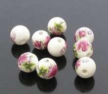 ceramic beads- peony 8mm