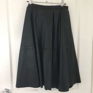 PU Leather Black A Line Skirt