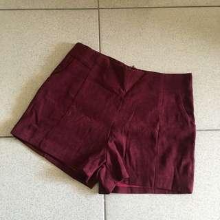 🚚 QS 酒紅色高腰短褲