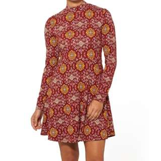 Red Moroccan Pattern Paisley Yellow Swing Skater Hippie Print Dress Longsleeve Choker