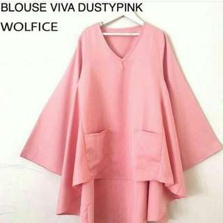 Blouse Viva Dusty Pink And White