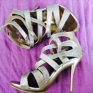 REPRICED! Gold Gladiator Heels