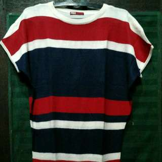 (Preloved) Red Blue Stripe Knit Top