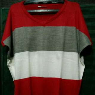 (Preloved) Red Grey Stripe Knit Top