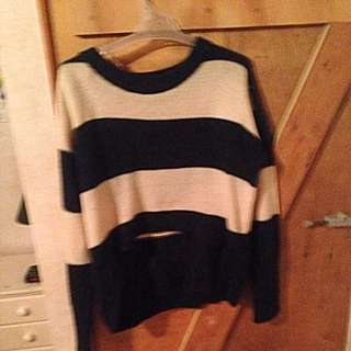 Blue & White Striped Sweater