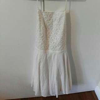 Rhythm Size 10 White Backless Apron Dress