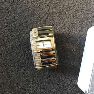 DKNY Wide Band Gold Watch