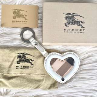 Authentic Burberry Heart-Shaped Keychain with Mirror