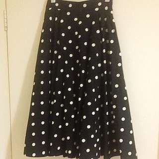 Emily and Finn Waisted Polka dot Midi Skirt