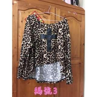 二手豹紋罩衫大尺碼M~XL