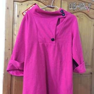 桃紅色連身洋裝大尺碼M~2XL