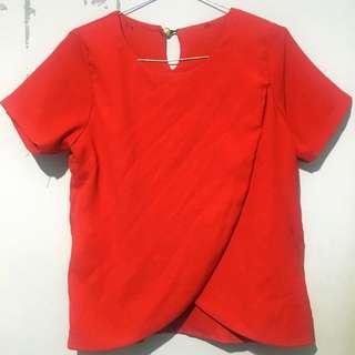 Red Slit Blouse