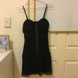 Dotti Zip Front Black Dress LBD