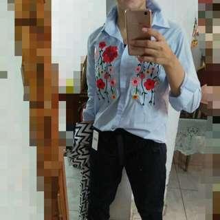 Kemeja Striped Biru Zara Bordir
