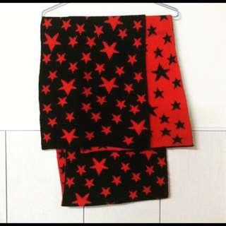 黑紅雙面滿天星圍巾
